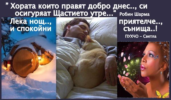 Лека нощ Милички - от мен ПУХЧО - Светла = 2015г.